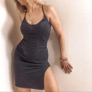 Navy Blue Vegan Suede Mini Dress with Leg Slit